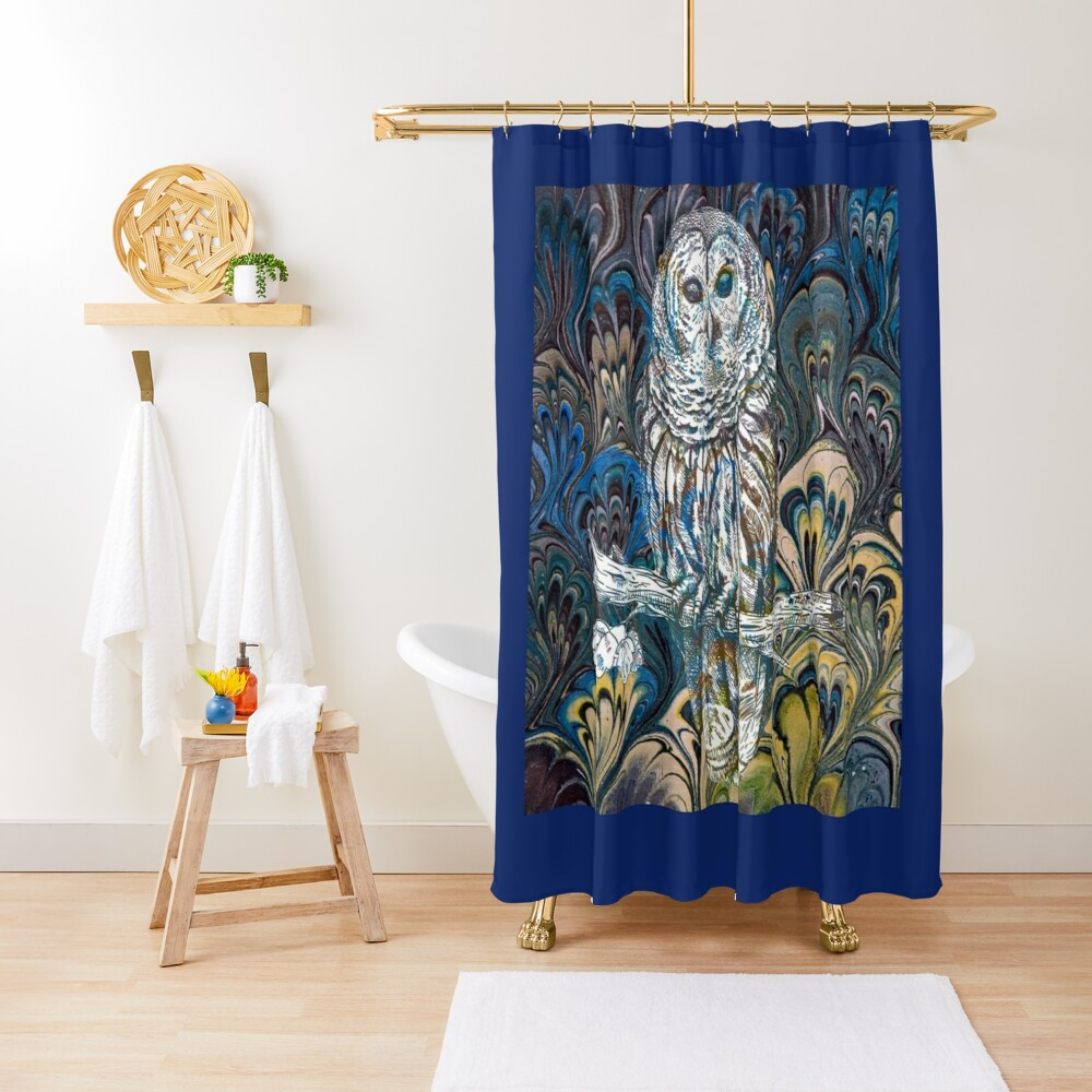 Owl in Blue Shower Curtain