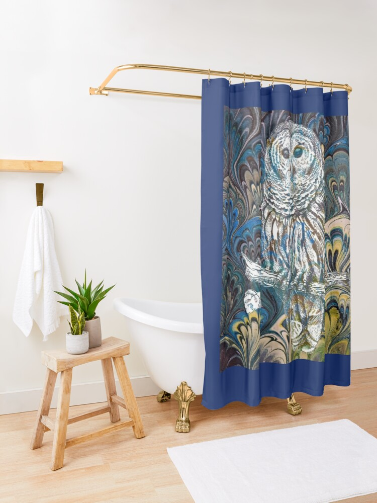 Alternate view of Owl in Blue Shower Curtain