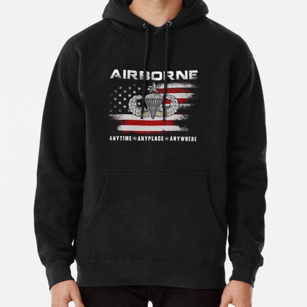 Airborne Paratrooper Black Jump Wings Airborne Tab with Flag T-Shirt Pullover Hoodie
