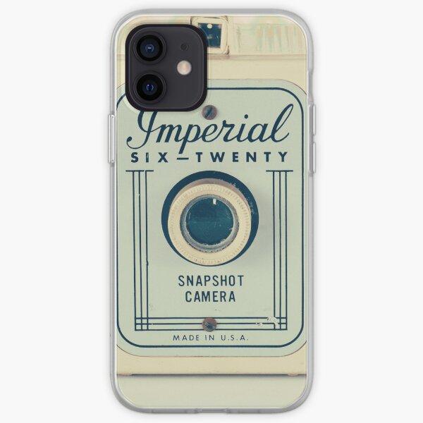 Retro - Vintage Pastel Camera on Beige Pattern Background  iPhone Soft Case