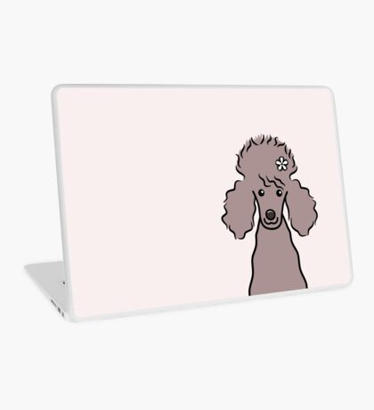 Poodle with White Flower Laptop Skin