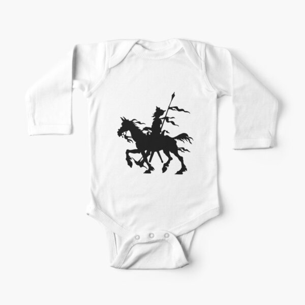 Don Quixote of La Mancha and Rocinante | Don Quixote Silhouette | Black and White | Long Sleeve Baby One-Piece
