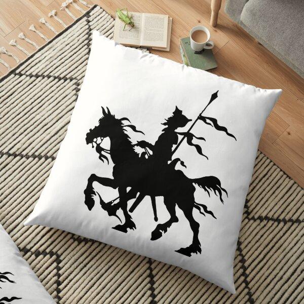 Don Quixote of La Mancha and Rocinante   Don Quixote Silhouette   Black and White   Floor Pillow