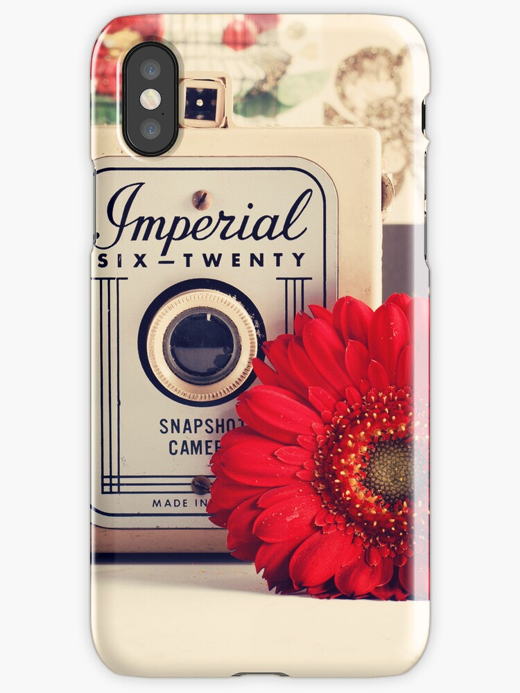 Retro - Vintage Pastel Camera and Red Flowe on a Kitsh Background  by Caroline Mint