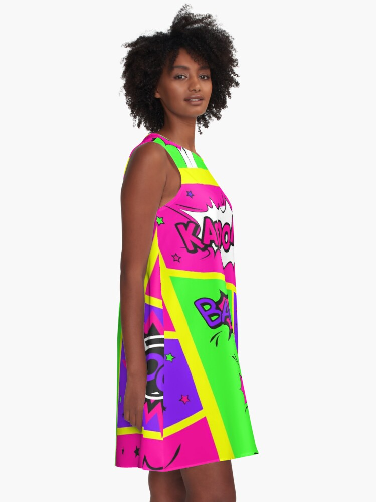 Alternate view of Bright and Colorful Comic Book Art A-Line Dress