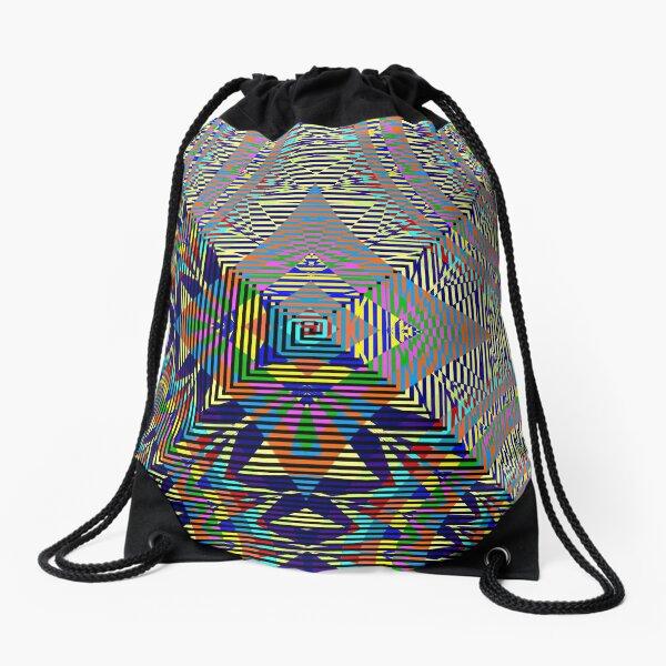 Square Spiral Rainbow Drawstring Bag