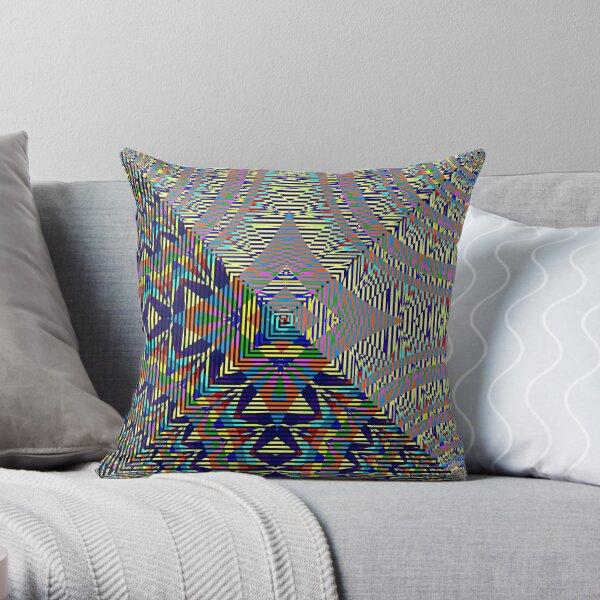 Square Spiral Rainbow Throw Pillow