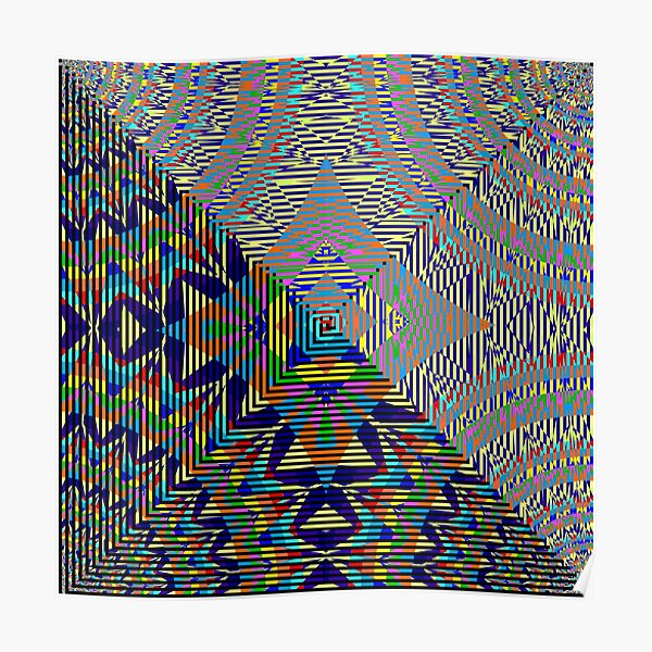 Square Spiral Rainbow Poster
