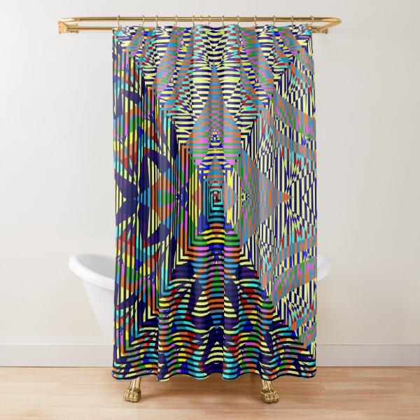 Square Spiral Rainbow Shower Curtain