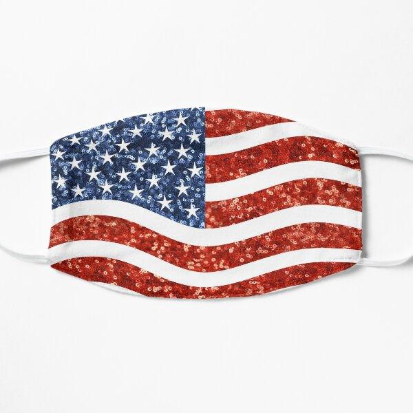 glitter print american flag Flat Mask