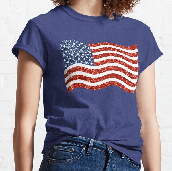 glitter print american flag Classic T-Shirt