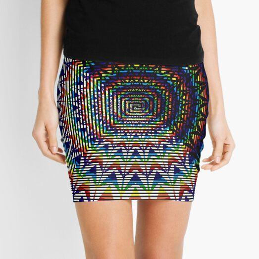 Square Spiral Rainbow Mini Skirt