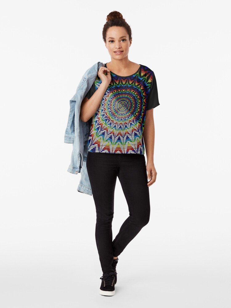 Alternate view of Square Spiral Rainbow Chiffon Top