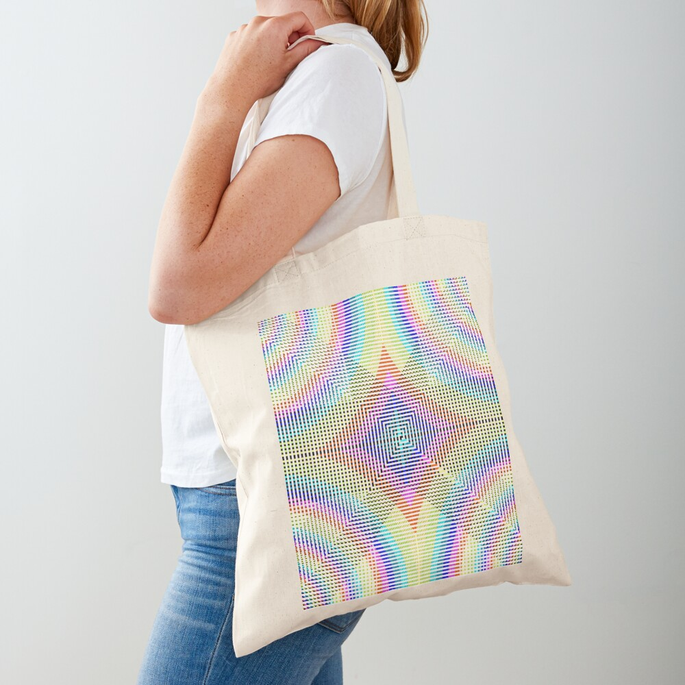 Square Spiral Rainbow Tote Bag