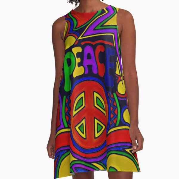 Peace and Love Retro Hippy Design A-Line Dress