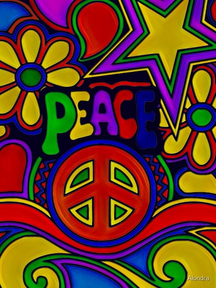 Peace and Love Retro Hippy Design by Alondra