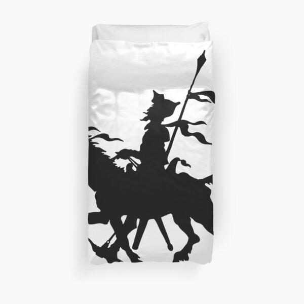 Don Quixote of La Mancha and Rocinante | Don Quixote Silhouette | Black and White | Duvet Cover