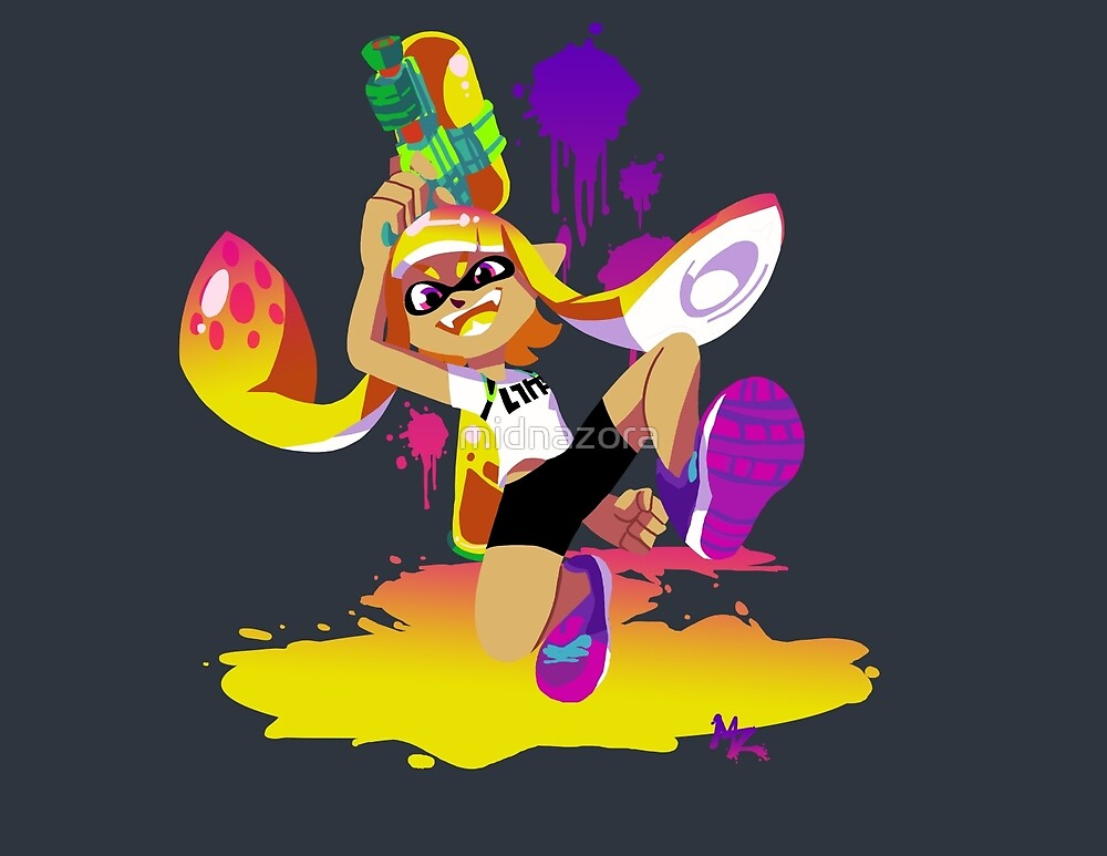 Quot Splatoon Inkling Yellow Quot By Midnazora Redbubble