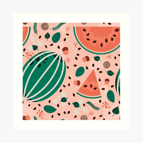 Playful Watermelon Seamless Pattern Art Print