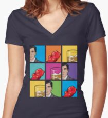 scotch & gummy bears pattern Women's Fitted V-Neck T-Shirt