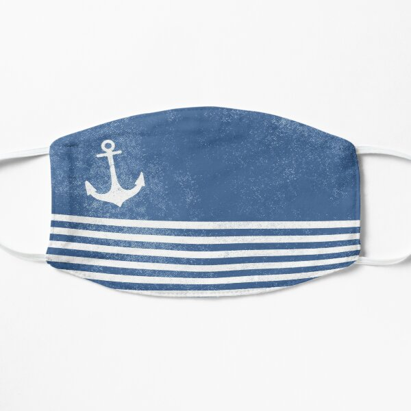 Vintage anchor for regatta with stripes blue white nautical marine vintage Flat Mask