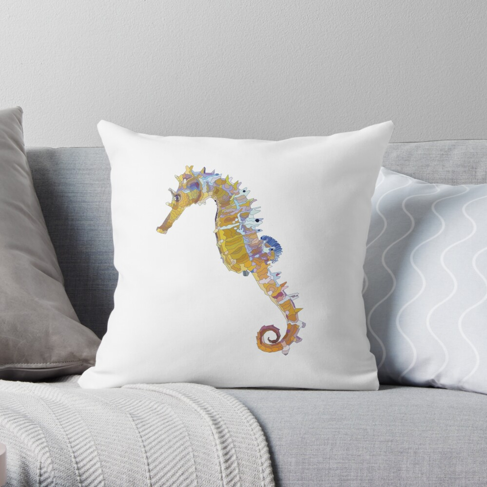 Geometric Sea Horse Throw Pillow By Mariaartmind Redbubble