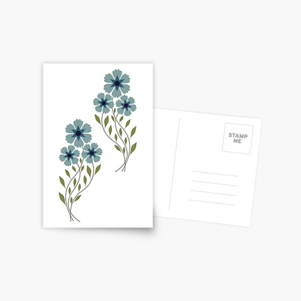 Zigzag flowers - blue Postcard