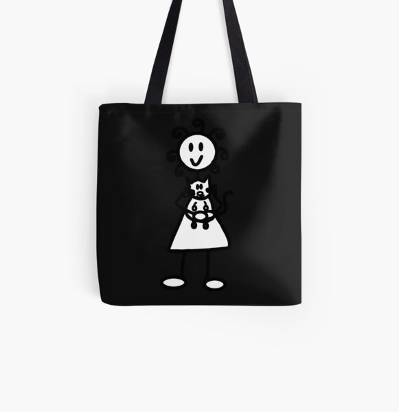The Girl with the Curly Hair Holding Cat - Black All Over Print Tote Bag