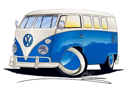 VW Splitty (11 Window) Blue by yeomanscarart