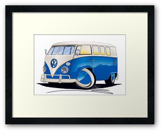 VW Splitty (11 Window) Blue by Richard Yeomans