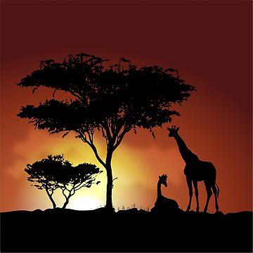 Giraffes at Sunset by Spartanbass