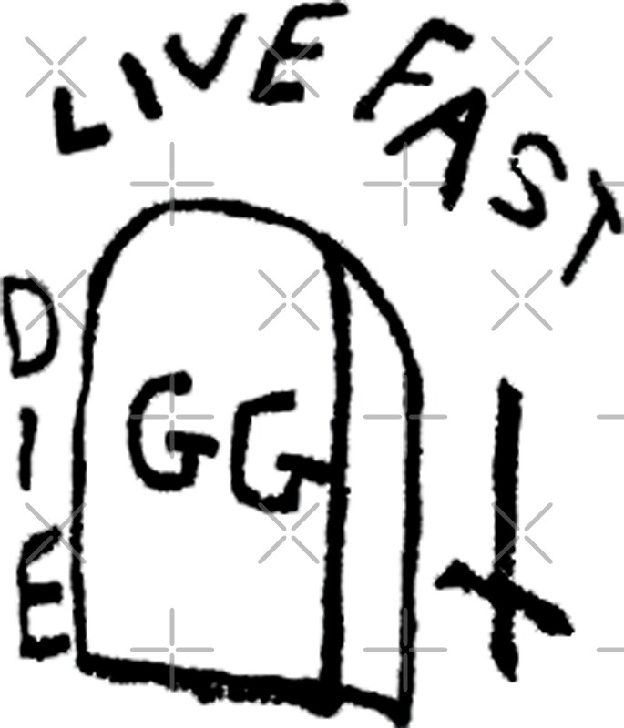 gg allin live fast die tattoo stickers by guitarmanarts redbubble. Black Bedroom Furniture Sets. Home Design Ideas