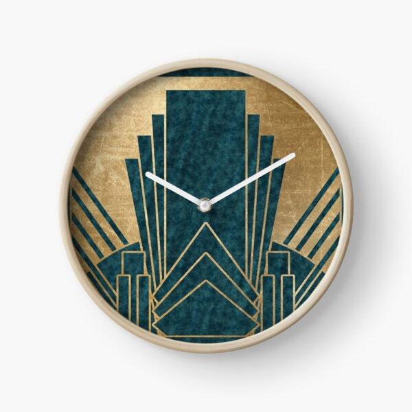Art déco glamour - sarcelle et or Horloge