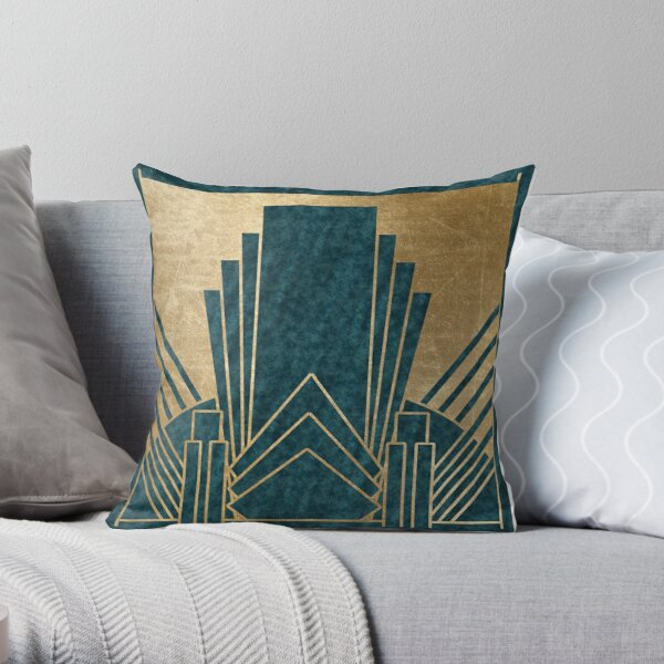 Art Deco glamour - teal and gold Throw Pillow