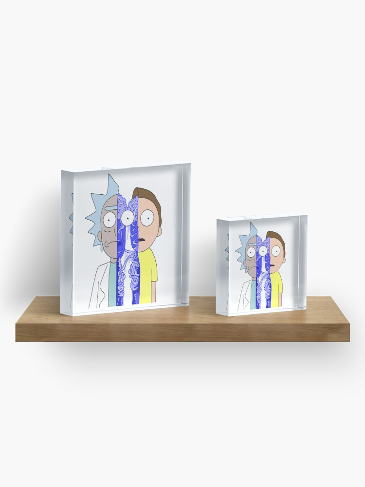 Alternate view of Rick and Morty in half Acrylic Block