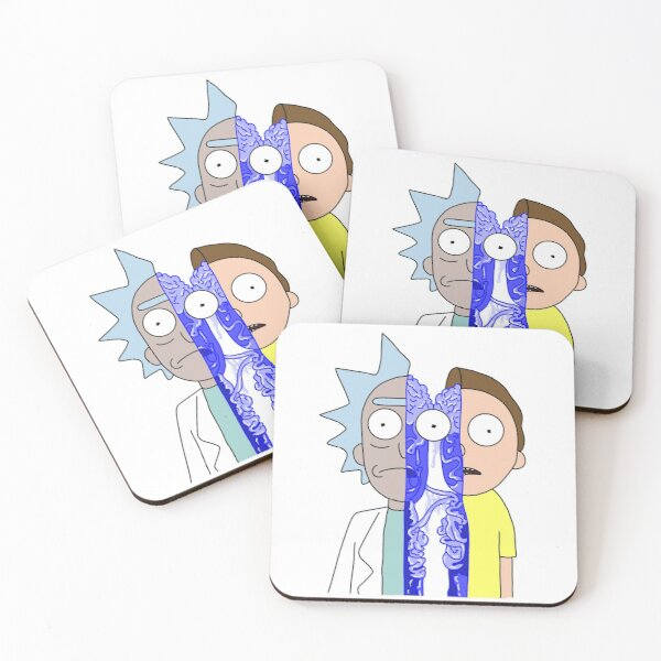 Rick and Morty in half Coasters (Set of 4)