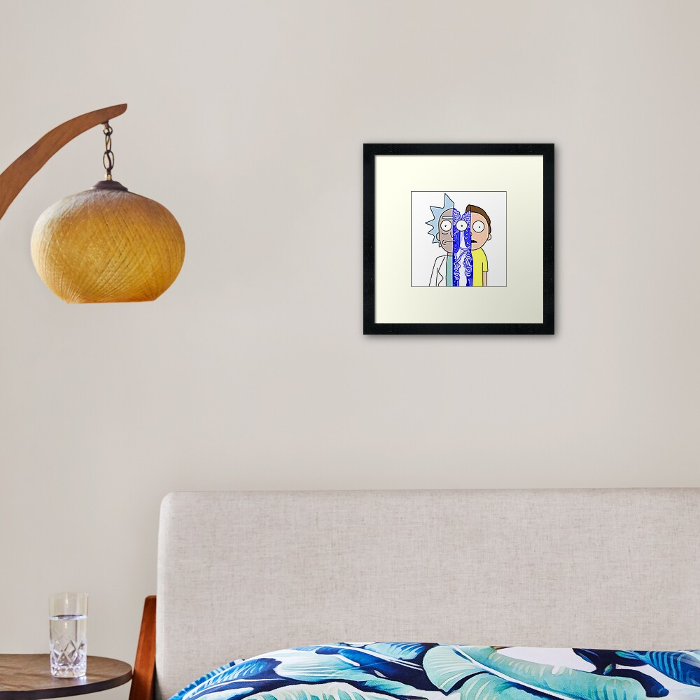Rick and Morty in half Framed Art Print