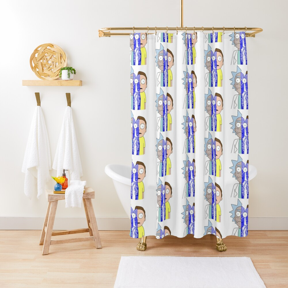 Rick and Morty in half Shower Curtain