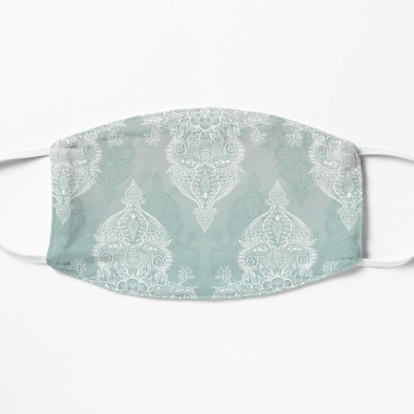 Lace & Shadows - soft sage grey & white Moroccan doodle Flat Mask