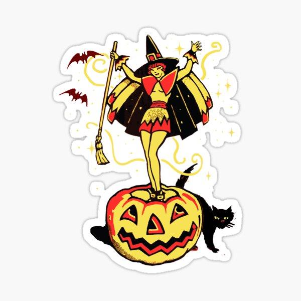 Halloween Witch Girl (vintage) Sticker