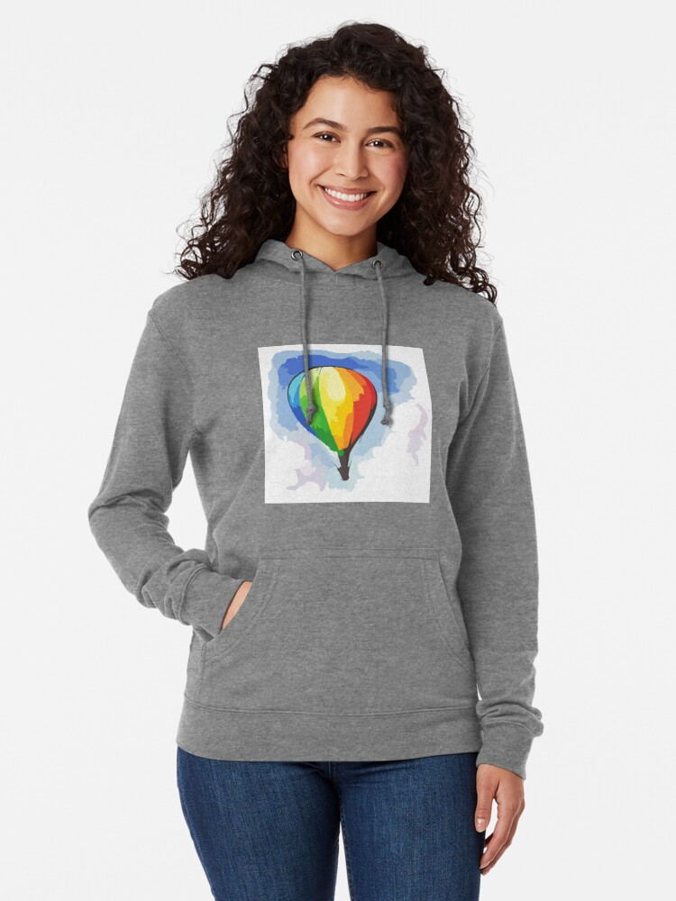Rainbow Hot Air Balloon Mens Front Pouch Pocket Pullover Hoodie Sweatshirt Long Sleeves Pullover Tops