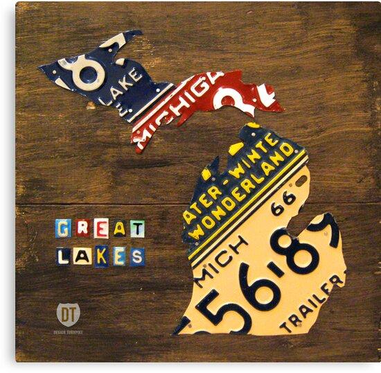 Michigan License Plate Map by designturnpike