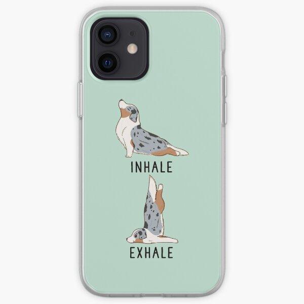 Inhale Exhale Australian Shepherd Yoga iPhone Soft Case