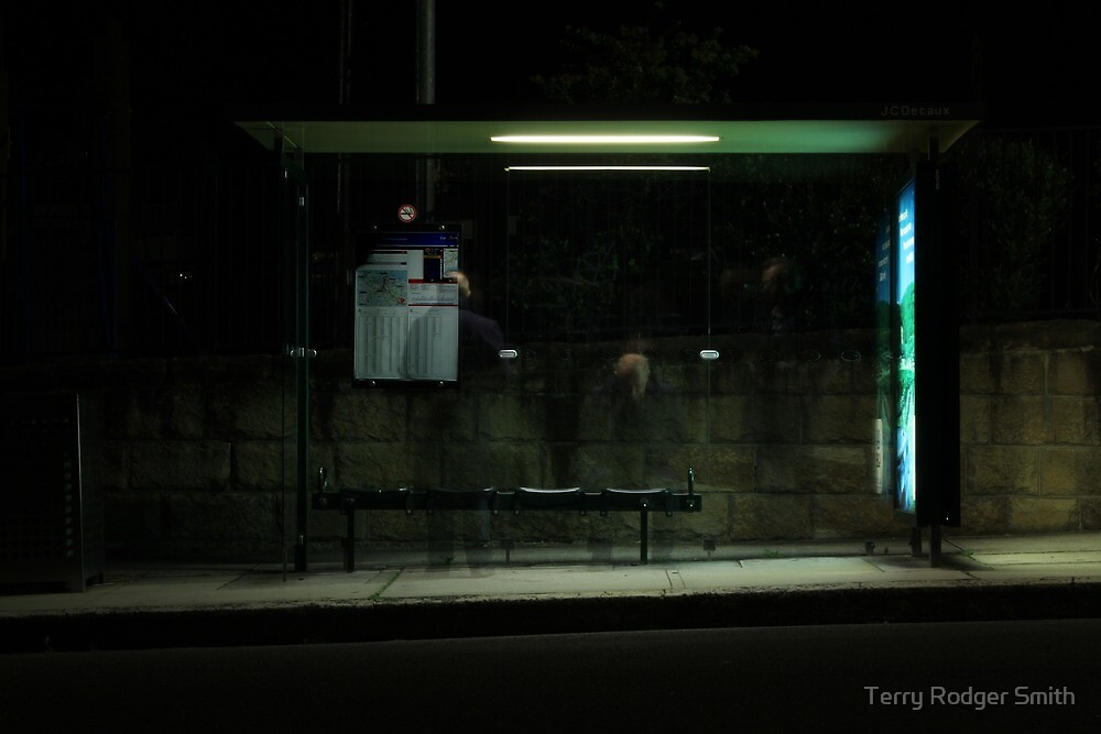 Bus shelter at night #2 - Waiting, waiting by Terry Rodger Smith