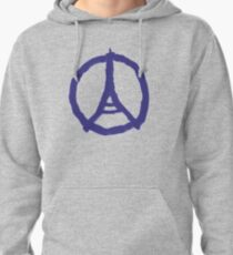 Eiffel Tower Peace Sign Hand Painted Pullover Hoodie