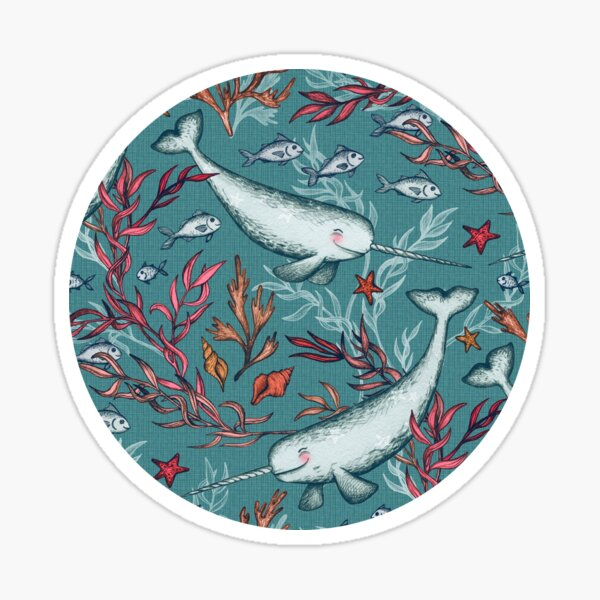 Narwhal Toile - teal blue Sticker