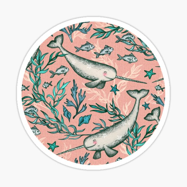 Narwhal Toile - peach pink Sticker