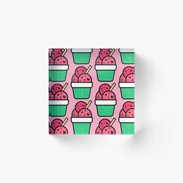 Watermelon Ice Cream Acrylic Block