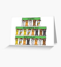 Cats celebrating December 2nd Birthday Greeting Card