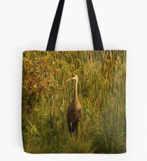 Sandhill Crane Standing on Shoreline Tote Bag